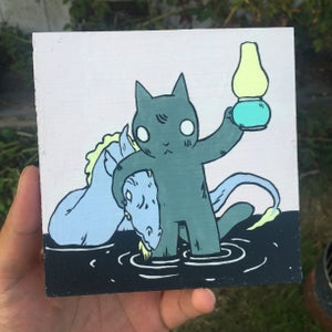 Image of Cat with Dragon in Arms Painting