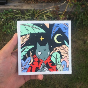Image of Caped Cat in Jungle Painting