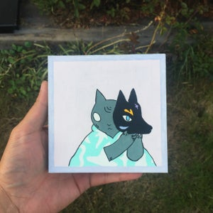 Image of Cat with Wolf Mask Painting