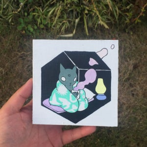 Image of Blanket Cat with Lantern Painting