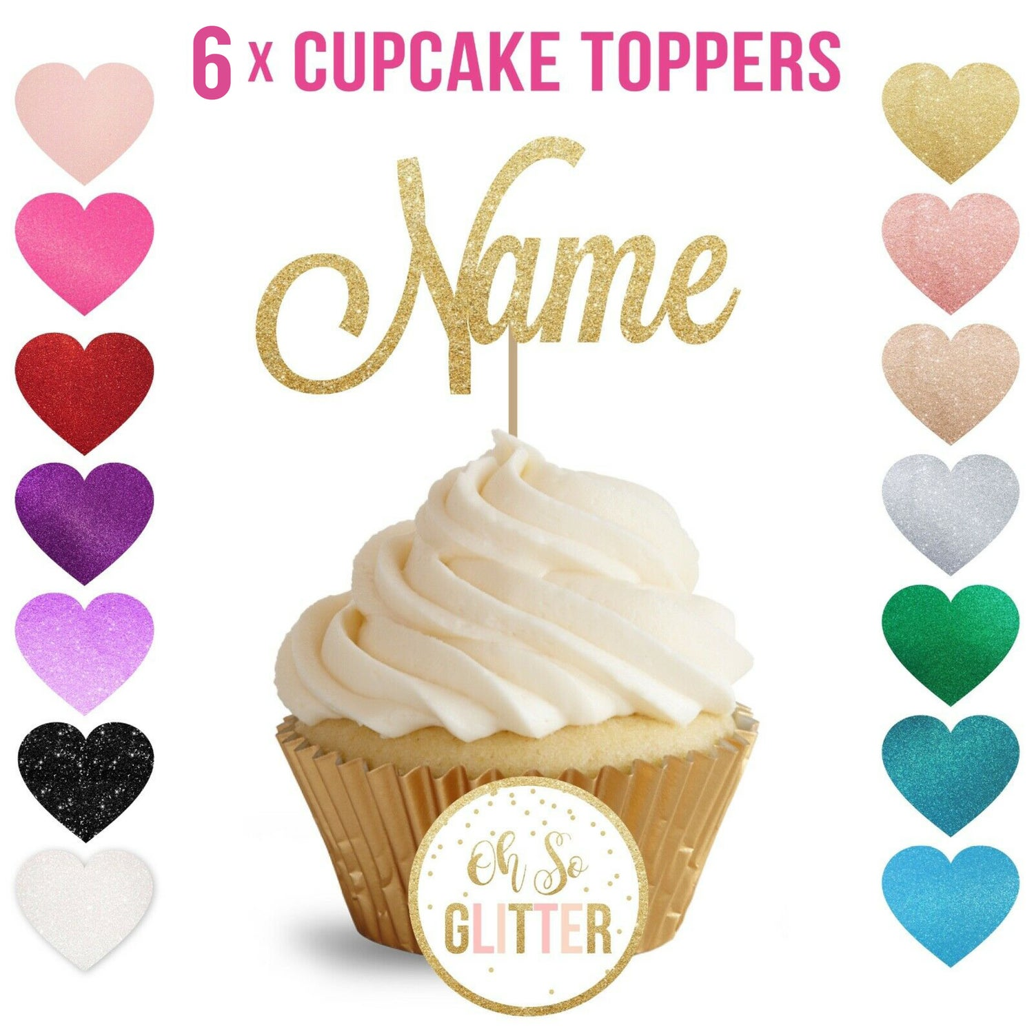 Image of Customised Cupcake Topper - pack of 6