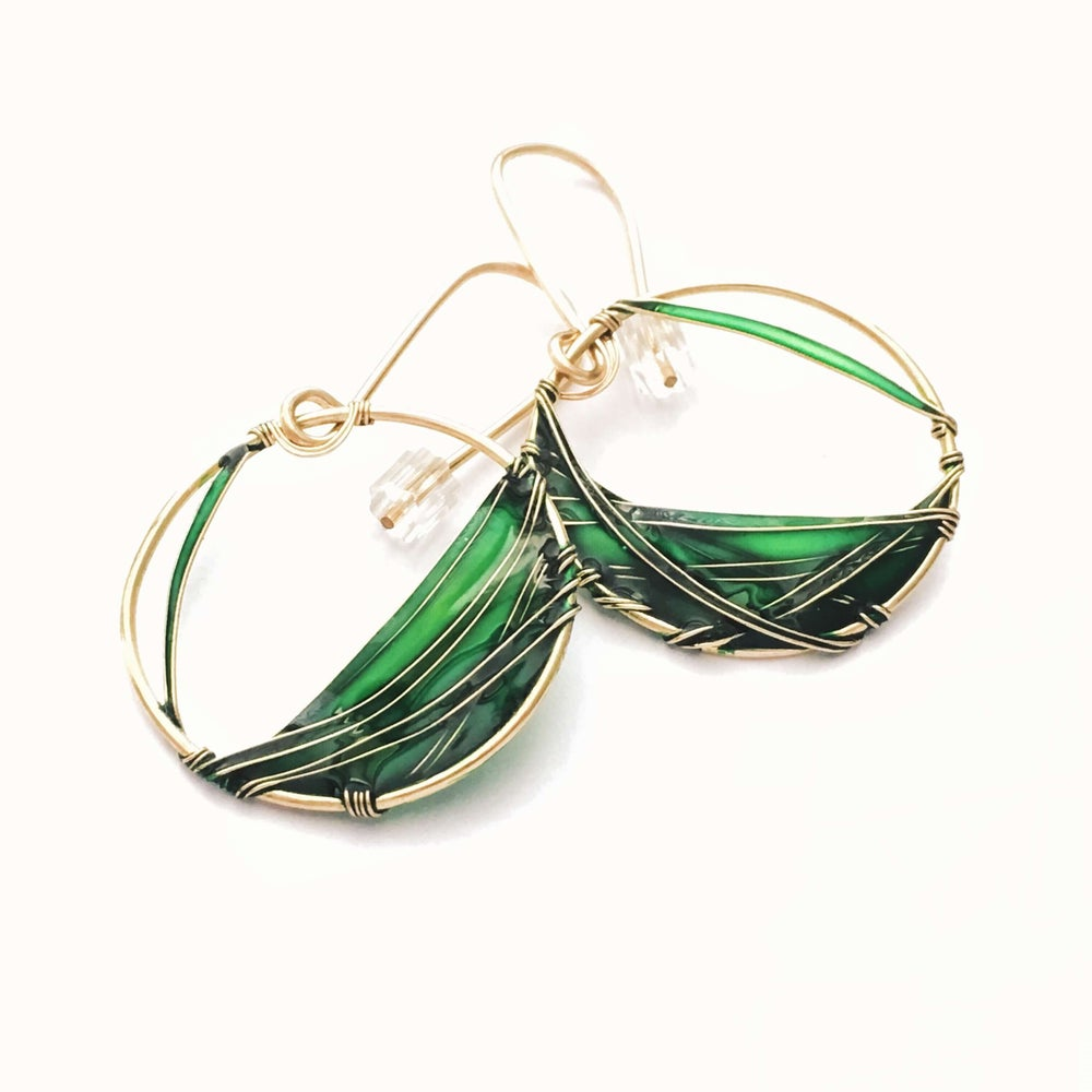 Image of 14K Gold and Emerald Earrings