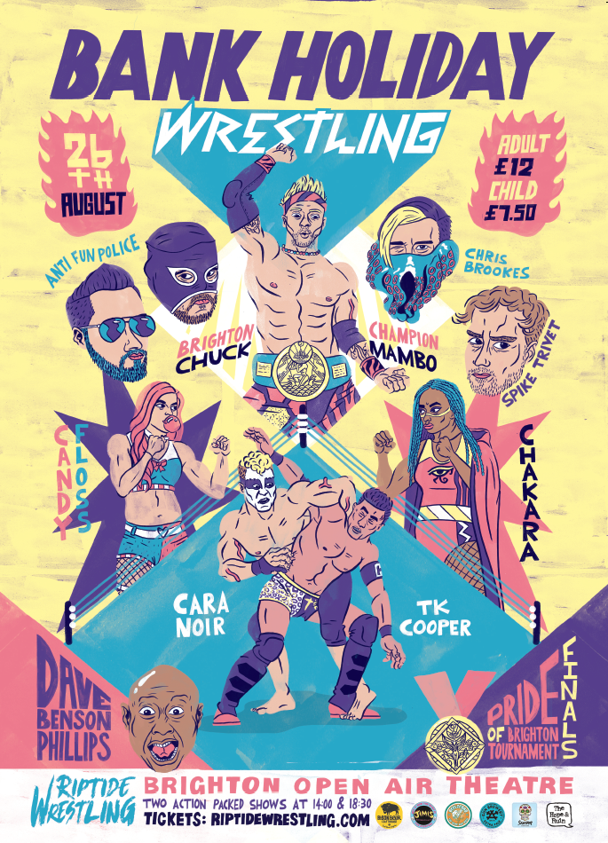 Image of Bank Holiday Wrestling Poster - A3 Print