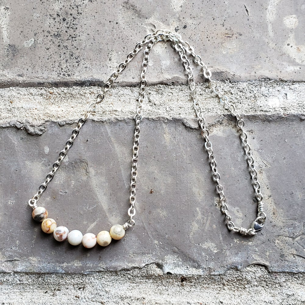 Image of Gemstone SS Necklace 1  - Crazy Lace Agate