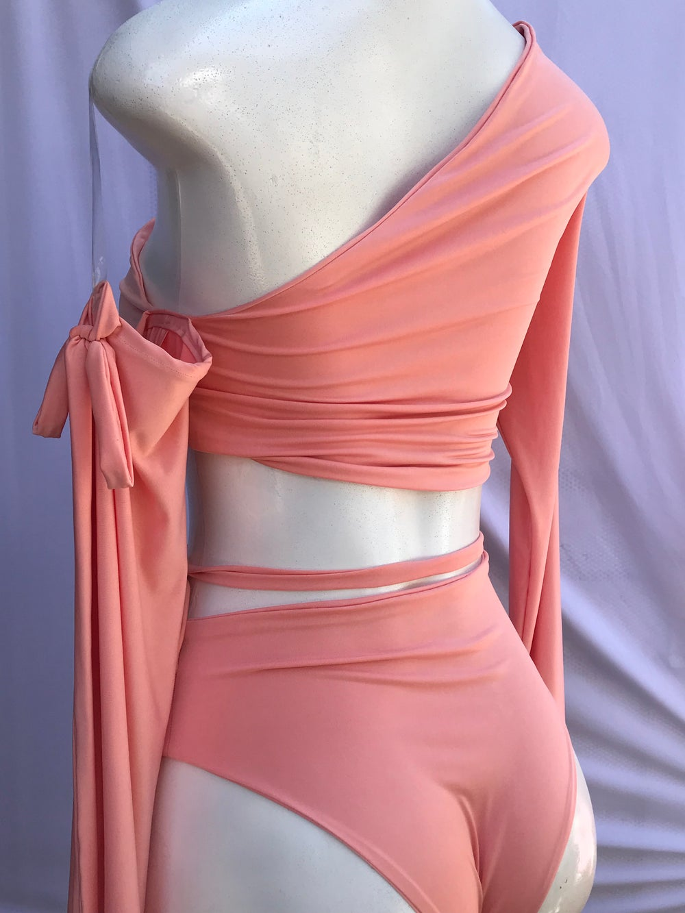 Image of 2 PIECE SET / ONE SLEEVE OFF SHOULDER TOP w/HIGH CUT BOTTOMS