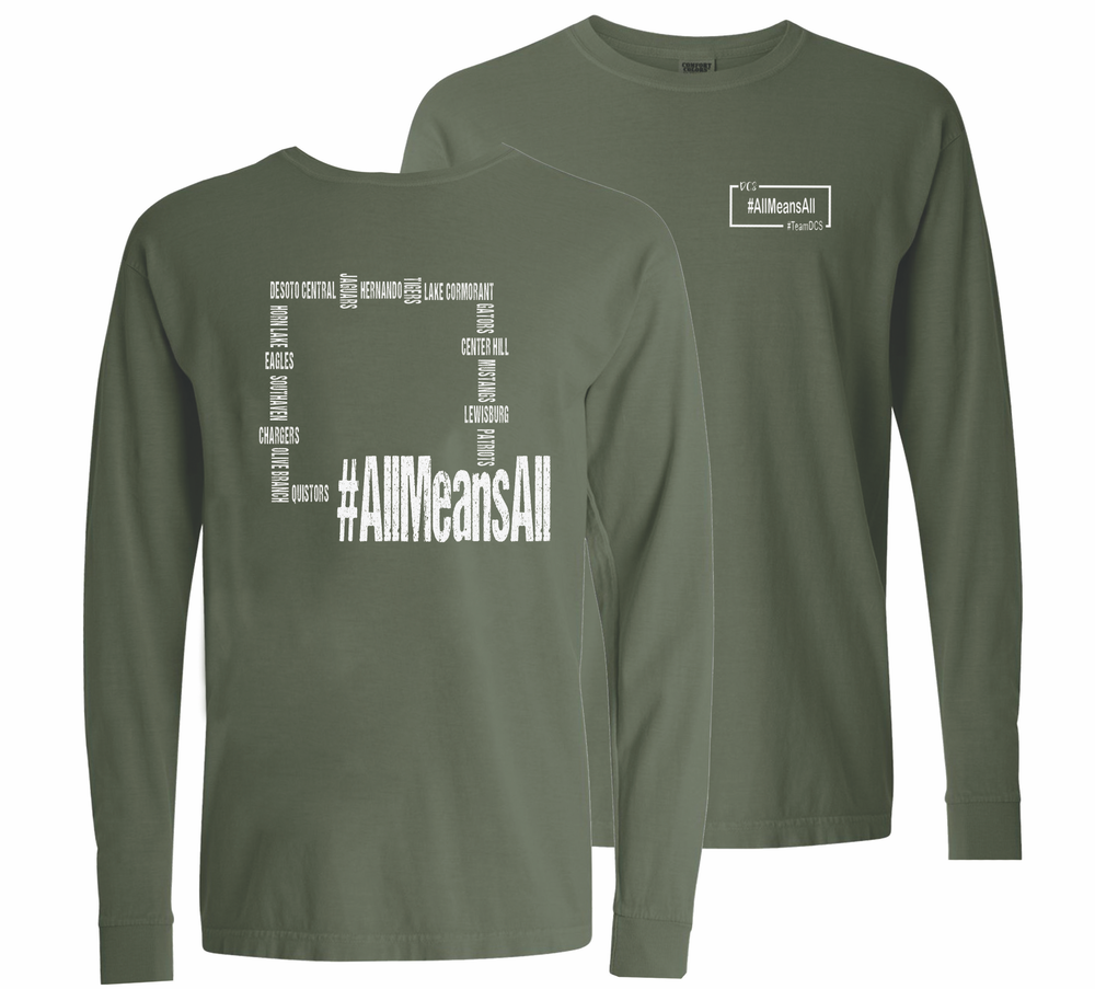 Image of #AllmeansALL Comfort Color LONG SLEEVE (Hemp Green)