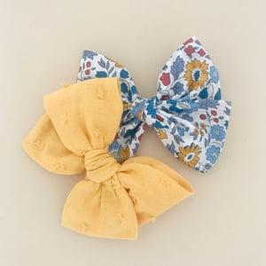 Image of Barrette voile de coton plumetis moutarde