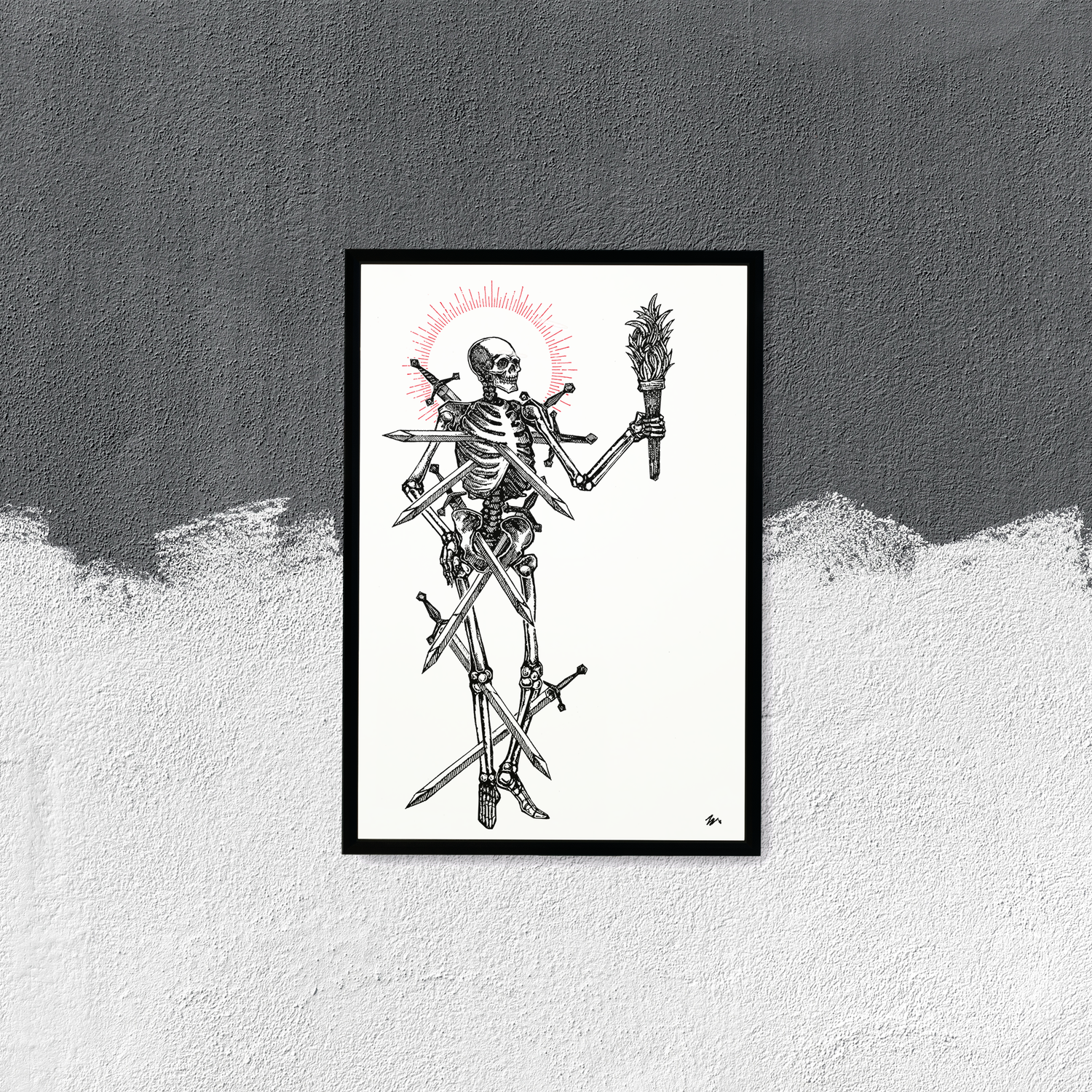 """Image of LIMITED EDITION RUN OF 10, """"Seven of Swords"""" 12""""x18"""" Watercolor Paper"""