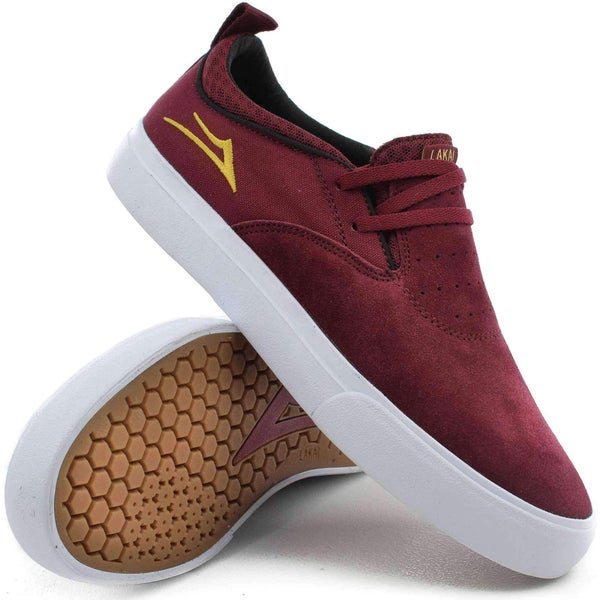 Image of Lakai Riley 2 Skate Shoes in Burgundy Suede