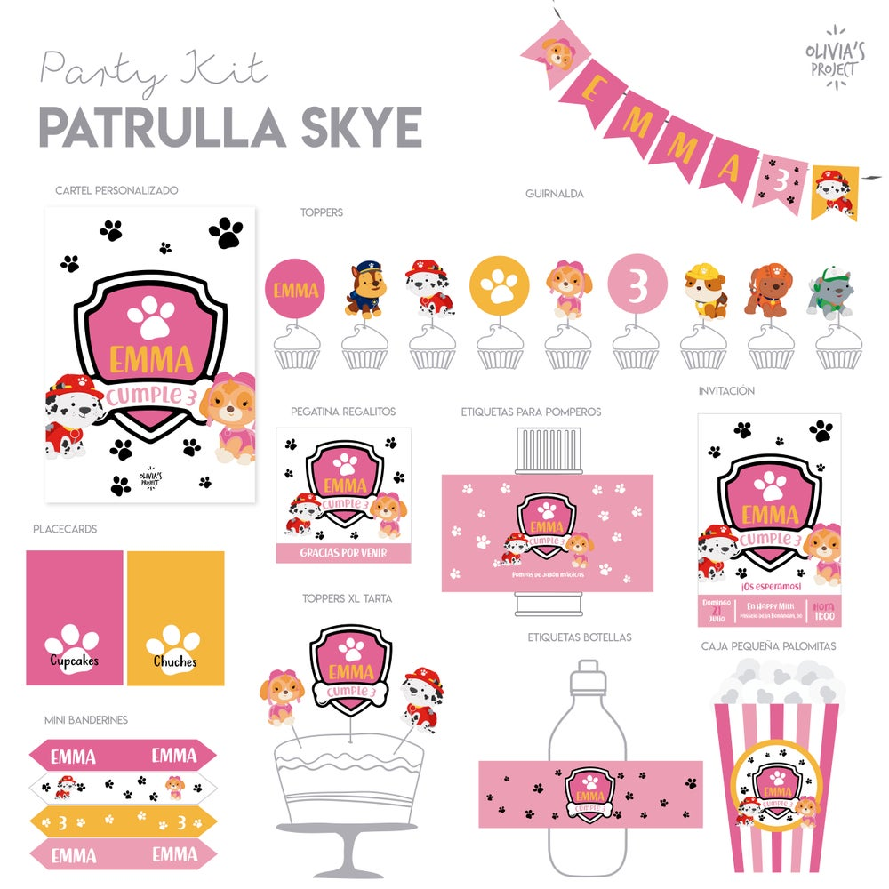 Image of Party Kit Patrulla Skye Impreso
