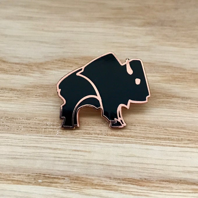 Image of Bison Pin - Black and Copper
