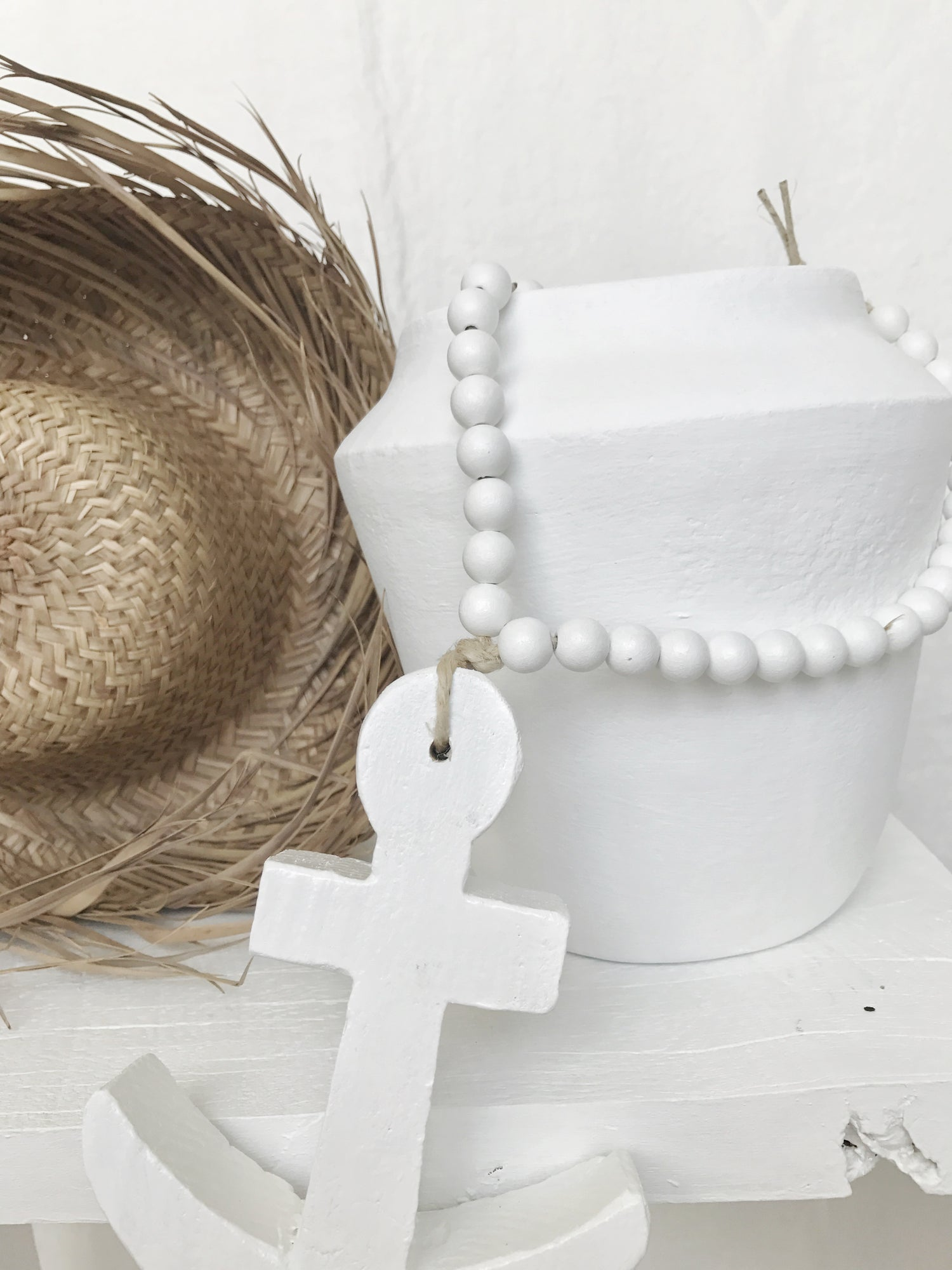 Image of Reclaimed Love Bead - White Beads and White Wooden Anchor
