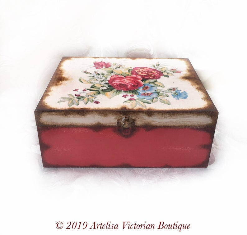 Handmade Wooden jewelry box Vintage roses organizer Shabby Wedding gift