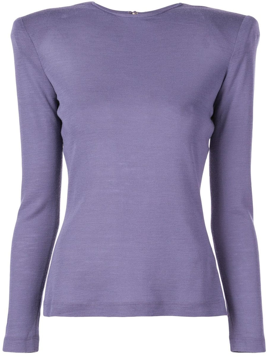 Image of Purple Structured Shoulders Top