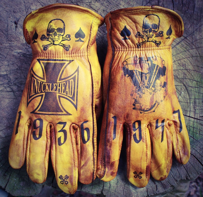 Image of Knucklehead custom leather gloves