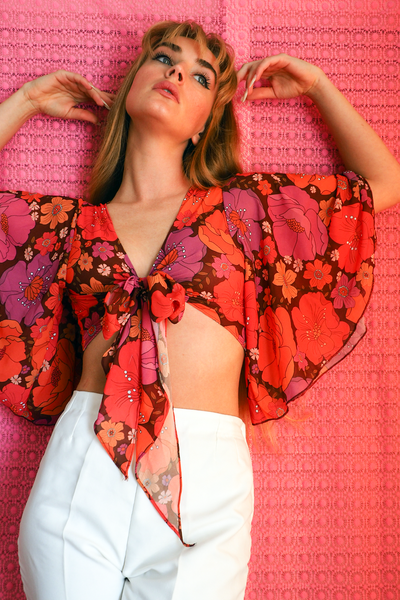 Image of Hearts a Flutter tie top in the Just Lovely print in Magenta