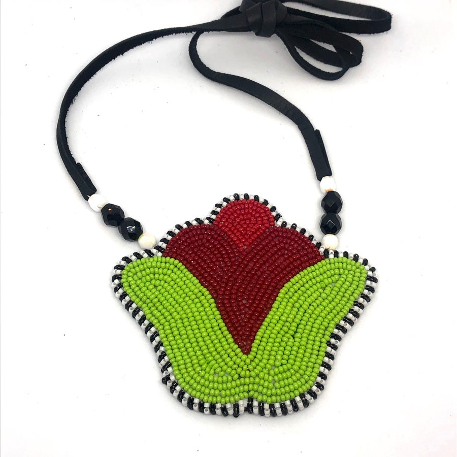 Image of Tulip Fever Beaded Pendant (Strawberry)
