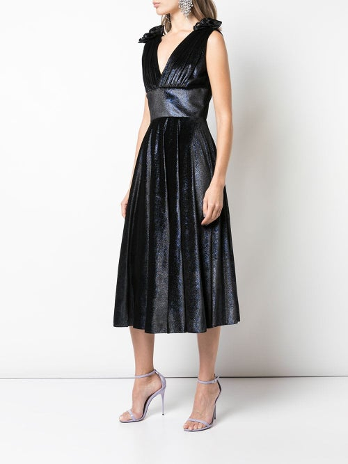Image of Shimmer Velvet V-Neck Dress