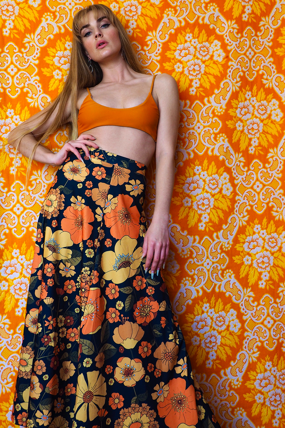 Yesterday lover maxi in Bloom n Groovy print burnt orange