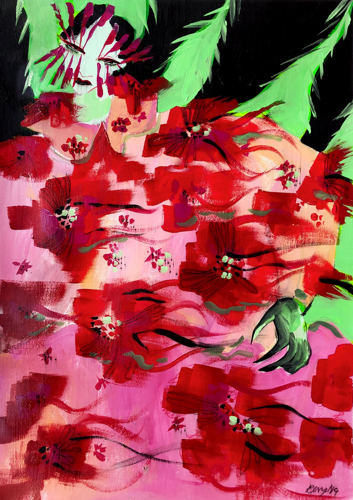 Image of 'Feather Roses' Print