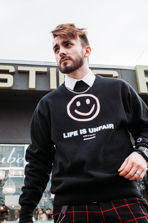 Image of 'LIFE IS UNFAIR' CHAMPION SWEATSHIRT