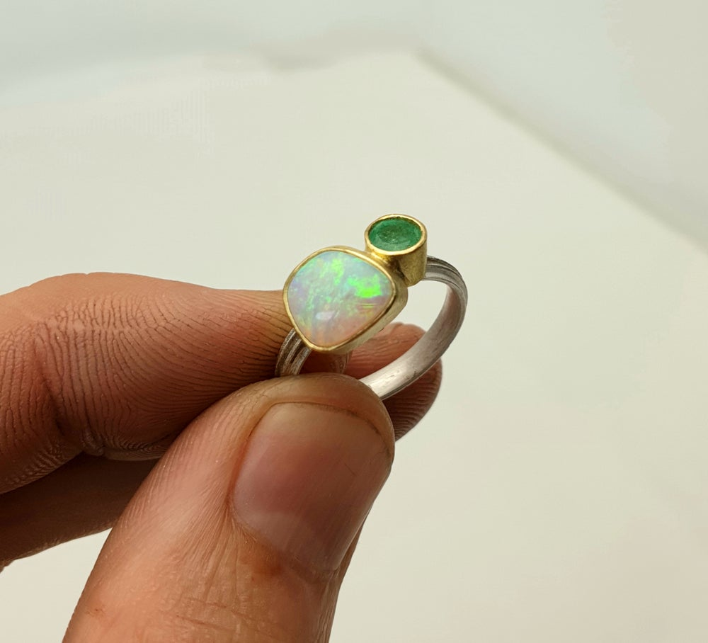 Image of Emerald and pipe opal ring in 18ct gold and silver. By Chris Boland