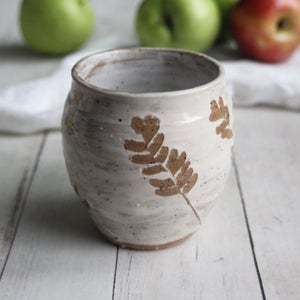 Image of Large Nature Mug, 16 oz. Handcrafted with Pressed Maiden Hair Fern Leaves, Made in USA
