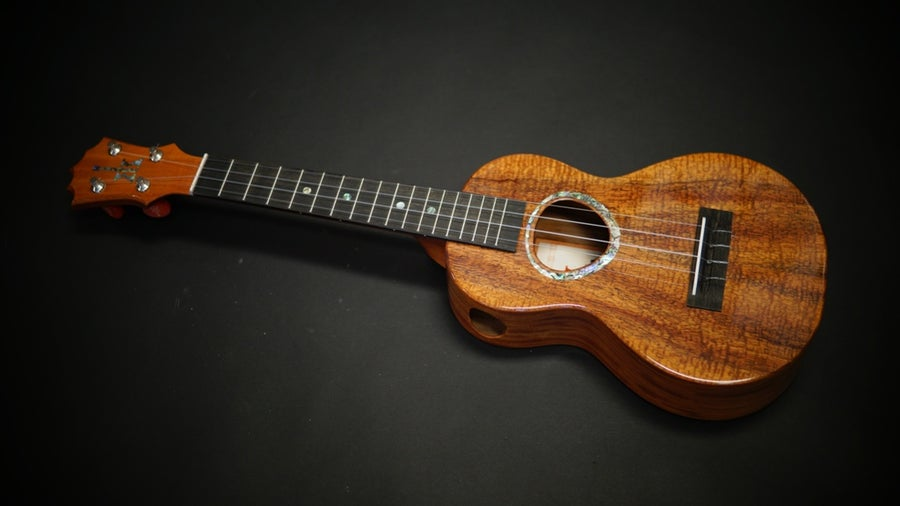 Image of KoAloha KCM-00 Custom Rosette Curly Koa & Mahogany Concert Side Port