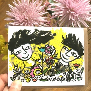 Image of Flower Lovers (yellow), Card