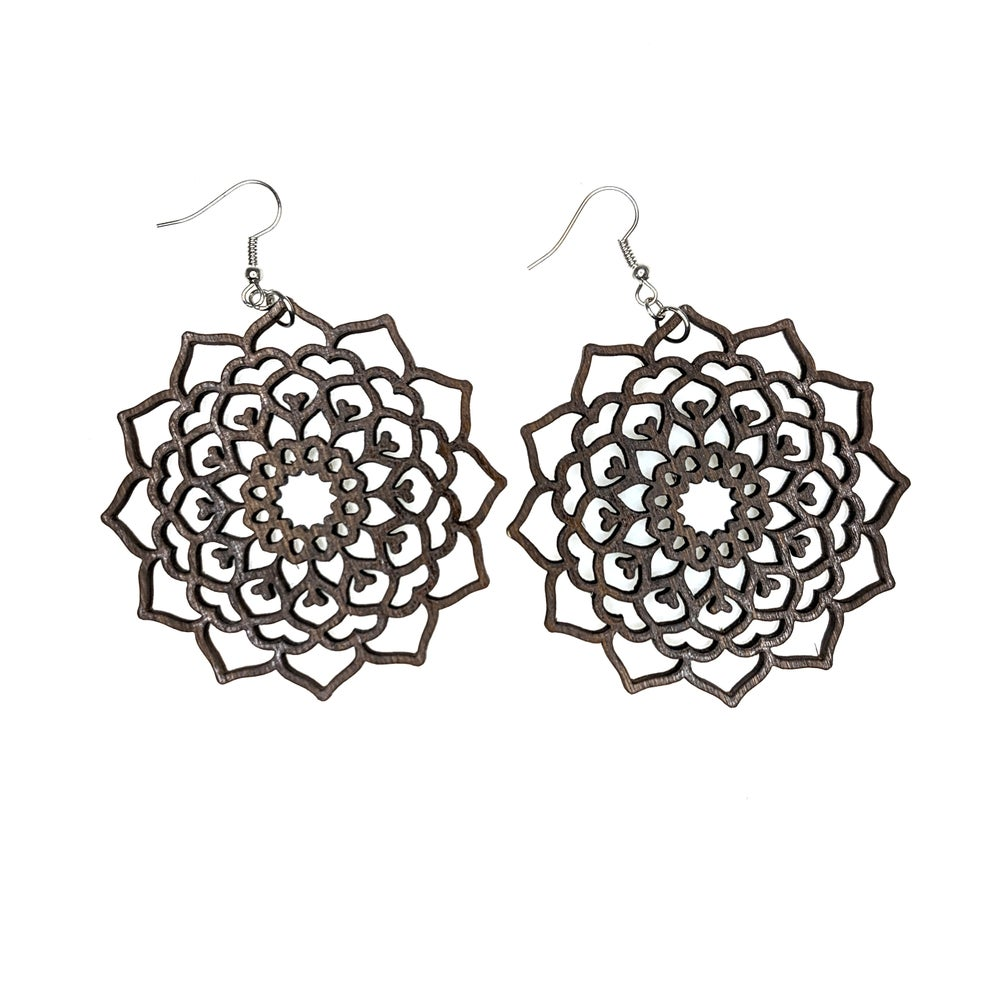 "Image of ""Wooden Lace"" Mandala Earrings"