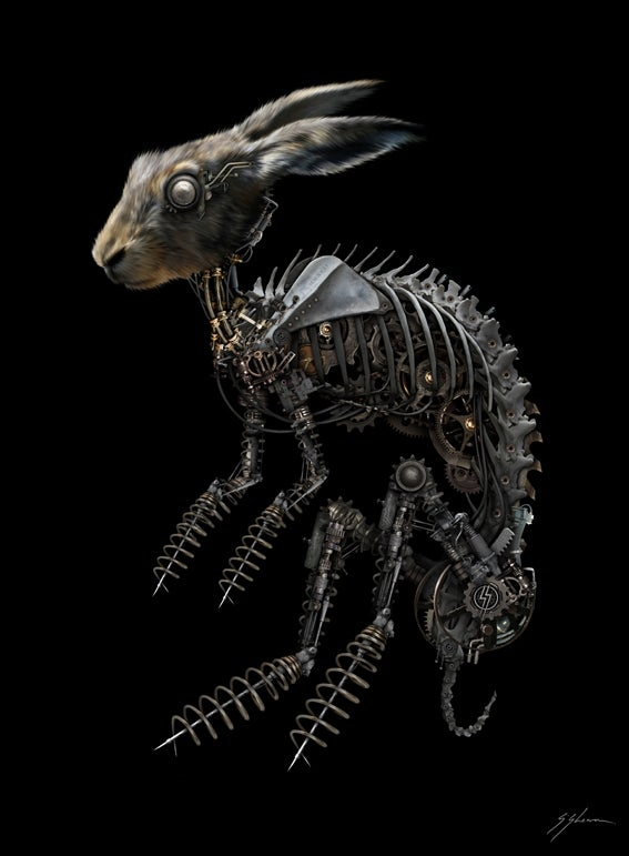 "Image of BIO-MECHANICAL ZOMBUNNIE 11"" X 16"""