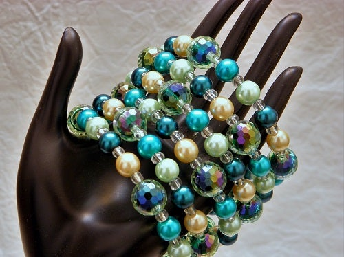 Image of Bracelet, Memory Wire, Glass Pearls & Acrylic Beads