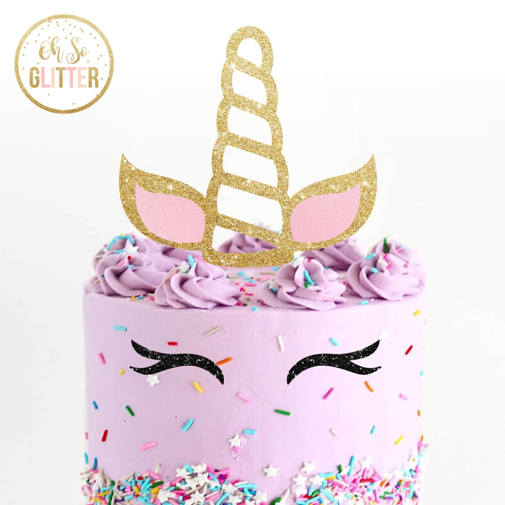Image of Unicorn Horn Glitter Cake topper
