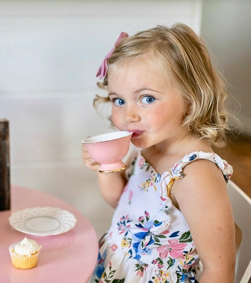 Image of Pink cup and saucer  Set of 4