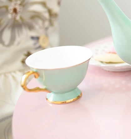 Image of Mint cup and saucer  Set of 4