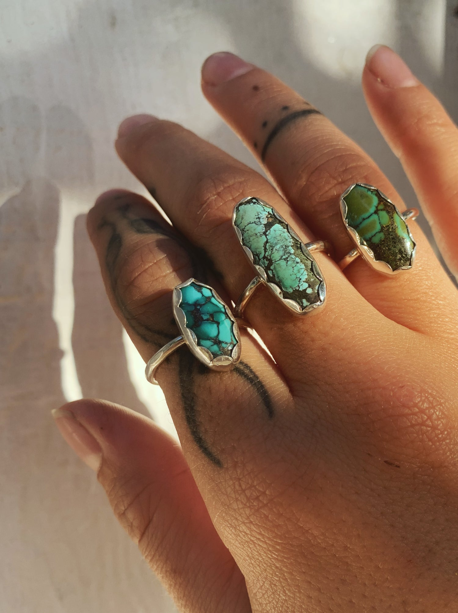 Image of Turquoise Scalloped Rings