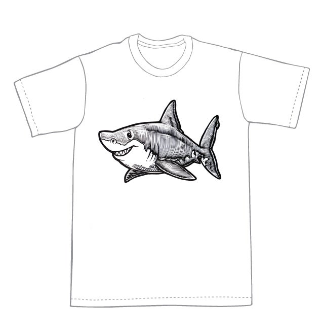 Happy Great White Shark T-shirt (A2) **FREE SHIPPING**
