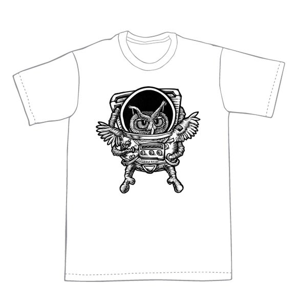 Image of Owlstronaut T-shirt **FREE SHIPPING**