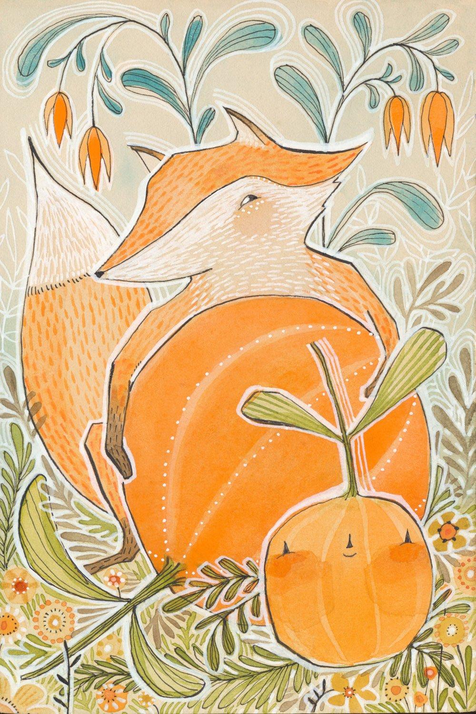 Image of pumpkin stealer, and original watercolor by cori dantini