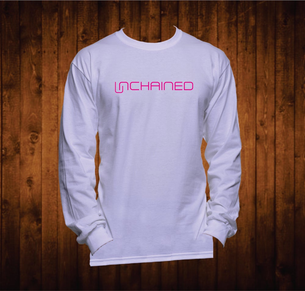 Image of Long Sleeved White Shirt Pink Unchained