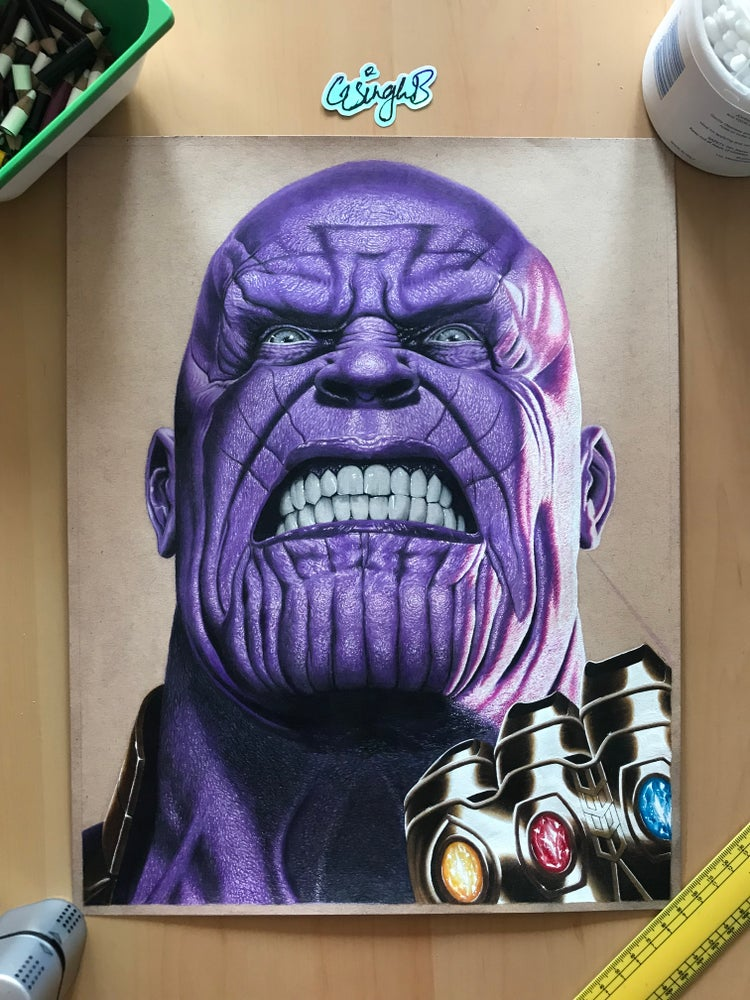 Image of Thanos Original Drawing (SOLD)
