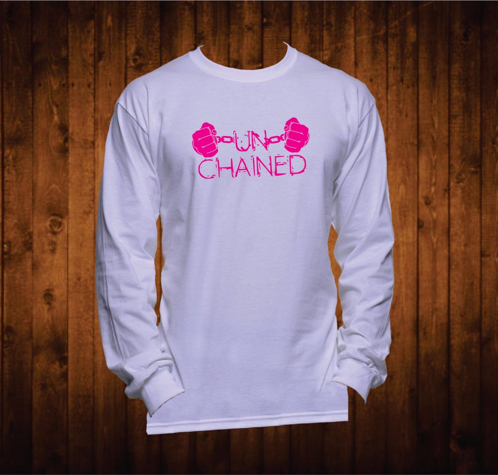 Image of Long Sleeved White Unchained Hands Hot Pink