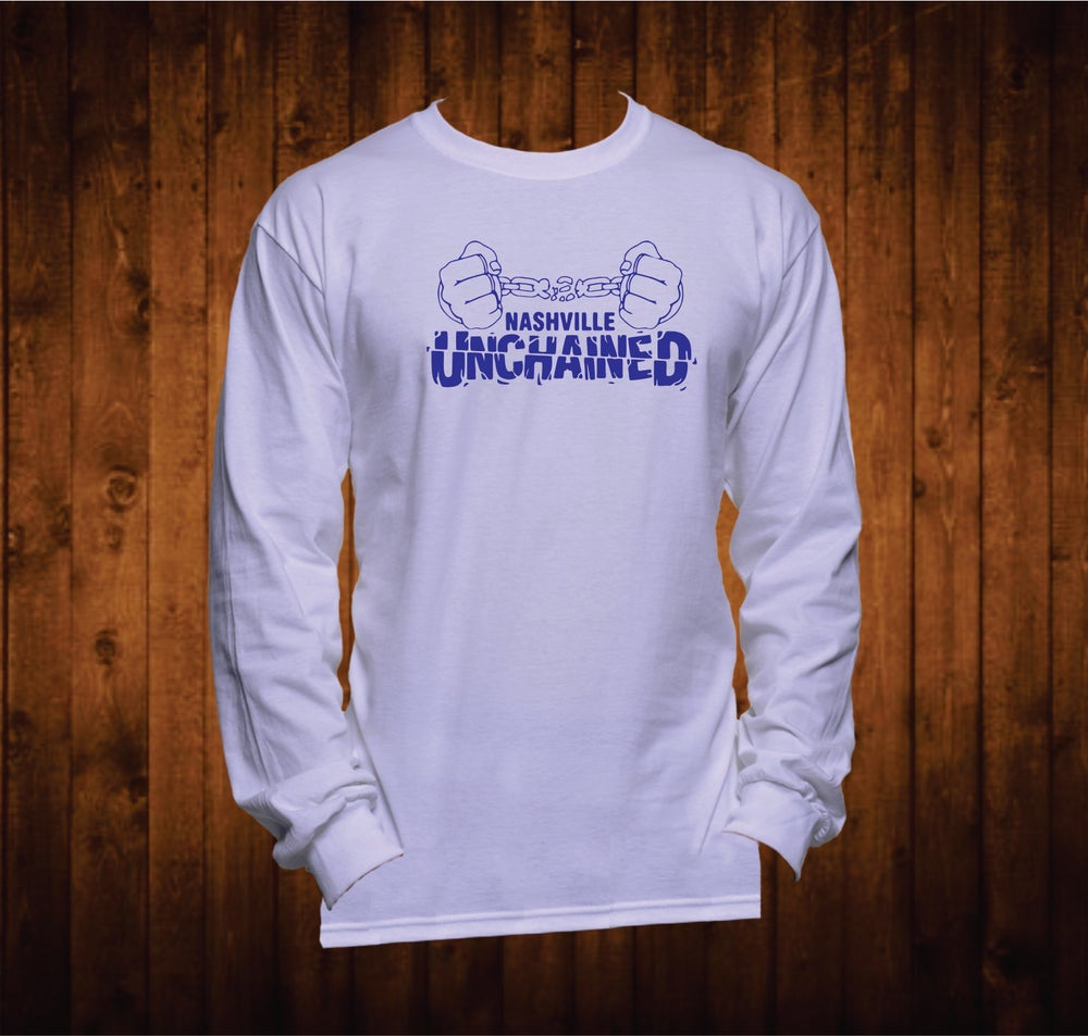 Image of Nashville Unchained Blue Hands Long Sleeved