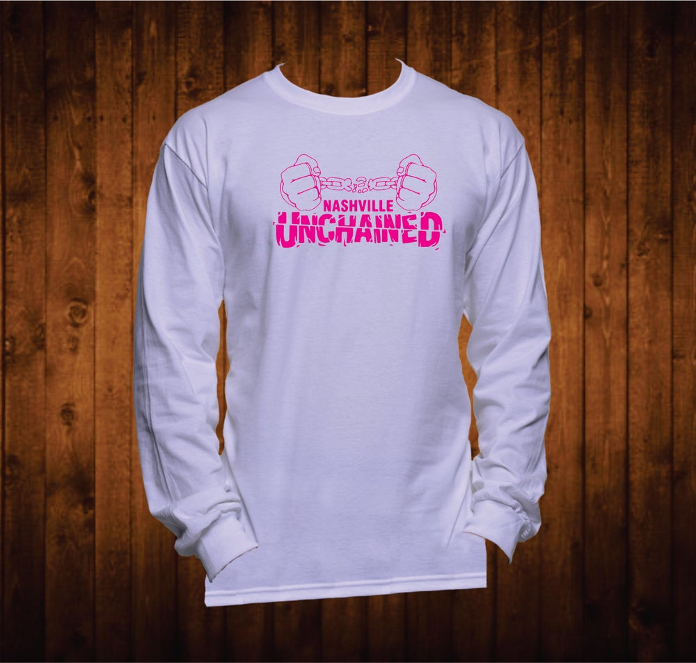 Image of Nashville Unchained Hands Hot Pink Long Sleeved