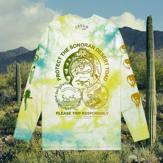"Image of ""Protect The Toad"" - Rainbow Roll Print on Tie Dye Long-sleeve"