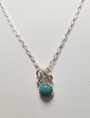 Image of 6mm stone necklace w/ rings