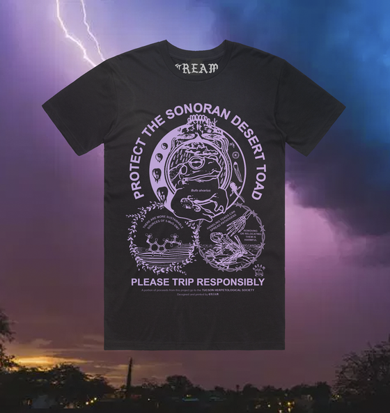 "Image of ""Protect The Toad"" - Lilac on Black Unisex Tee"