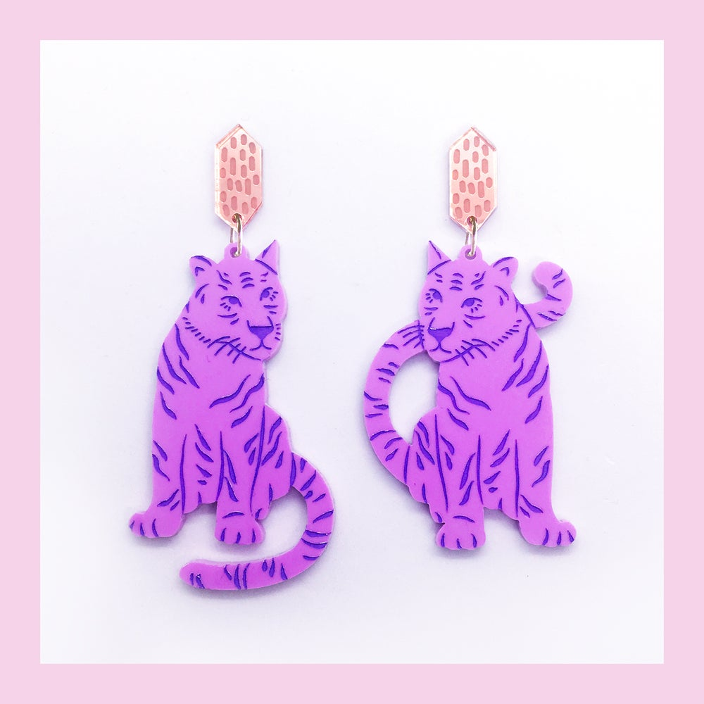 Image of Tiger Twins Dangles (Lilac/Rose Gold)