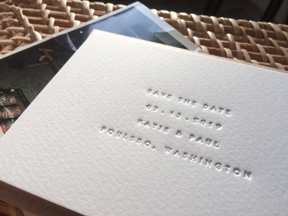 Image of ROSIE & ADAM letterpress save the dates with edge painting