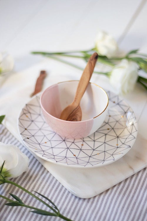 Image of Peach Pink and White Small Bowl with Gold Rim